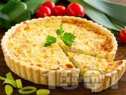 Киш с праз, шунка с яйца и прясно мляко - снимка на рецептата